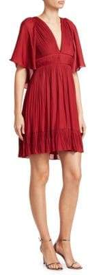 Halston Flowy Cape-Sleeve Pleated Dress