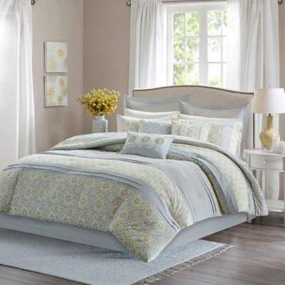 Madison Park Adelaide Queen Duvet Cover Set in Grey
