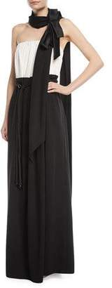 Marc Jacobs Strapless Belted Two-Tone Evening Gown w/ Bow-Scarf