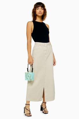 Topshop Womens **Stone Denim Maxi Skirt By Boutique - Stone