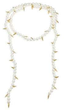 Fallon Linda Shell Pearl Spike Lariat Necklace