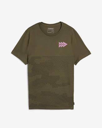 Express Jersey Crew Neck Camo Graphic Tee