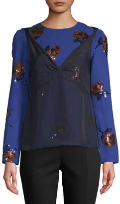 Dries Van Noten Floral Sequined Long-Sleeve Blouse