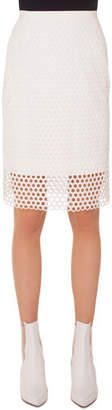 Akris Punto Circle-Lace Pencil Knee-Length Skirt