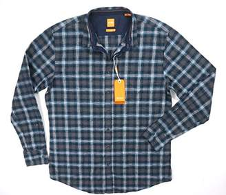HUGO BOSS BOSS Orange Men's Edipoe Lightweight Tartan Plaid Flannel Button Down Shirt