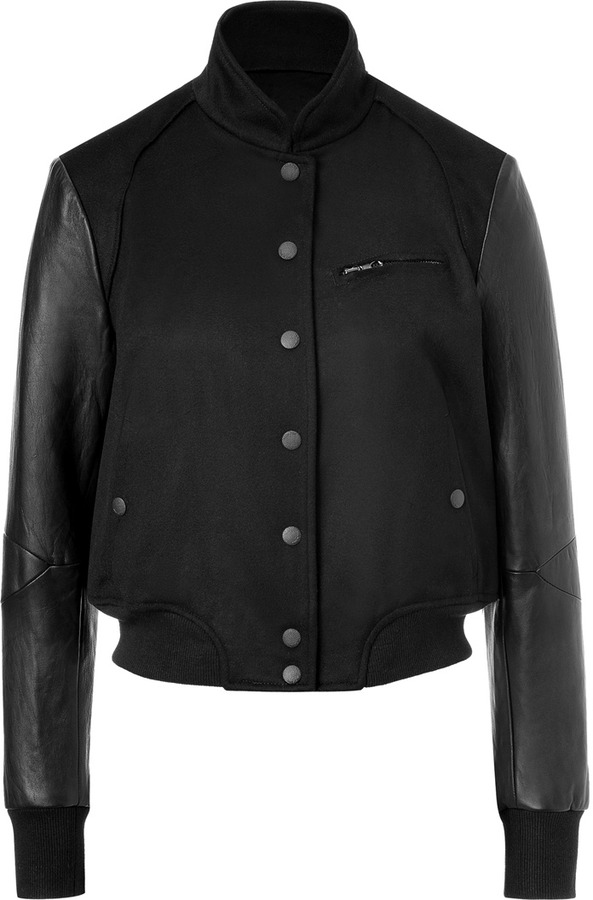 Rag and Bone Rag & Bone Black Wool Cambridge Jacket with Leather Sleeves