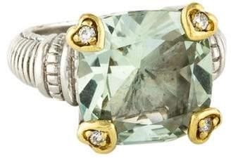 Judith Ripka Prasiolite & Diamond Fontaine Ring
