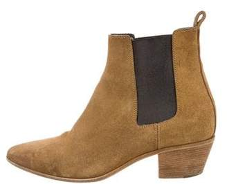 Saint Laurent Suede Pointed-Toe Ankle Boots