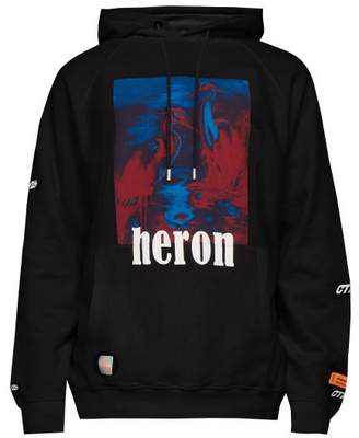 Heron Preston Heron Print Cotton Hooded Sweatshirt - Mens - Black
