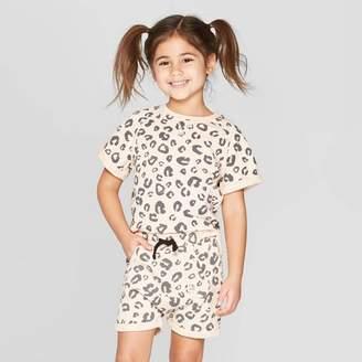 BEIGE Art Class Toddler Girls' Short Sleeve 'Leopard' Sweatshirt - art class