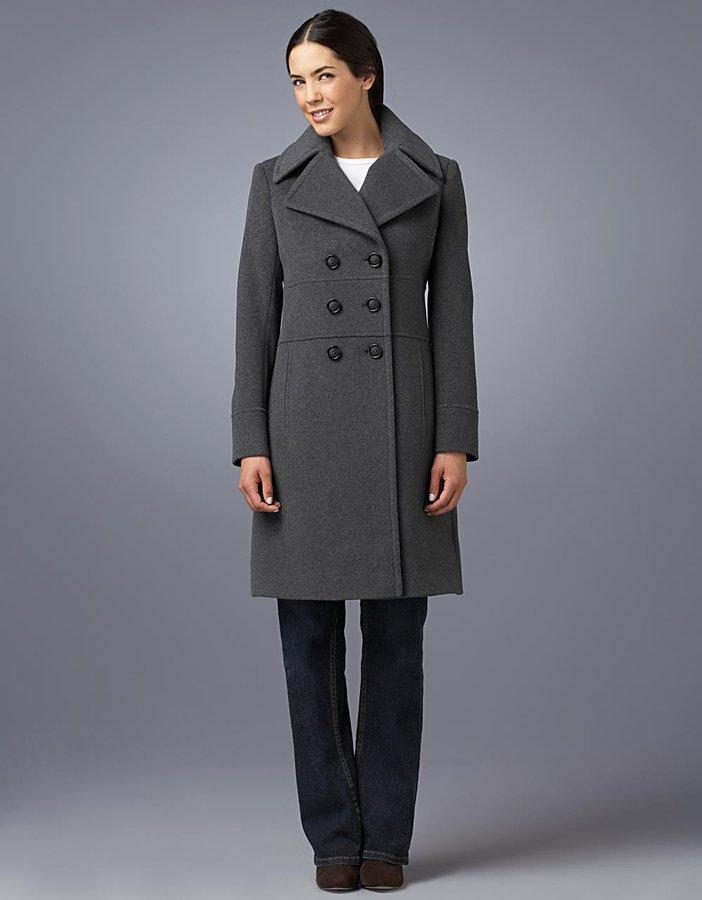 Jones New York Petite Double-Breasted Notch-Collar Pea Coat