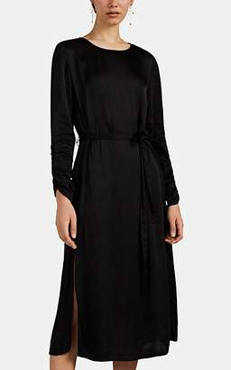Raquel Allegra Women's Ruched-Sleeve Satin Midi-Dress - Black