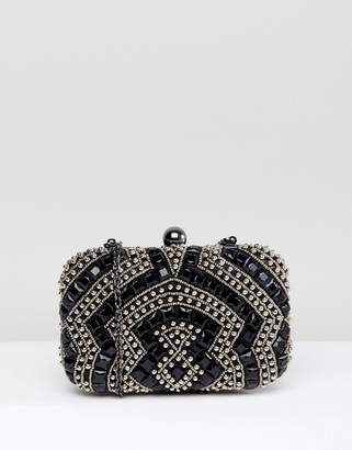 True Decadence Black Beaded Embellished Box Clutch Bag