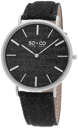 SO & CO NY Unisex Soho Denim Covered Leather Casual Ultra Slim Quartz Watch J154P32