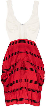 Balenciaga Convertible Lace-trimmed Stretch-jersey And Striped Silk Dress - Red