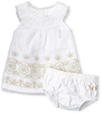 Juicy Couture Newborn Girls) Two-Piece Tulle Embroidered Dress & Bloomers Set