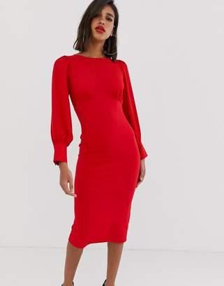 82fd5e1439 Asos Design DESIGN woven mix midi pencil dress