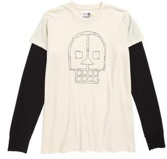 Nununu Embroidered Skull Layered Shirt