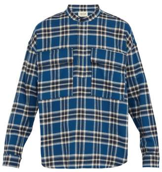 Fear Of God Plaid Cotton Flannel Shirt - Mens - Blue Multi