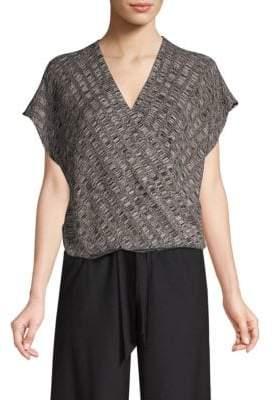 Eileen Fisher Silk-Blend Cap Sleeve Surplice Top