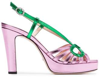 Gucci metallic pink 105 slingback sandals