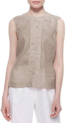 Go Silk Linen Button-Front Shell, Petite