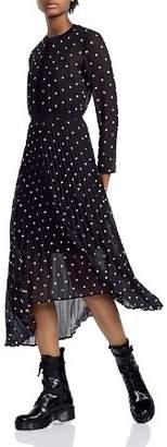 Maje Rivoli Micro-Floral Embroidered Midi Dress
