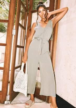 049fee2c52b8b0 Missy Empire Missyempire Sage Khaki Button Culotte Jumpsuit
