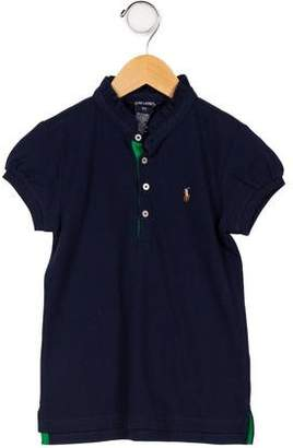 Ralph Lauren Girls' Ruffle-Trimmed Polo Top w/ Tags