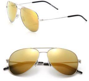 Saint LaurentSaint Laurent Classic 11 Oversized Metal Aviator Sunglasses