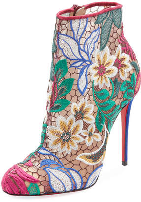 Christian Louboutin Miss Tennis Embroidered Red Sole Bootie