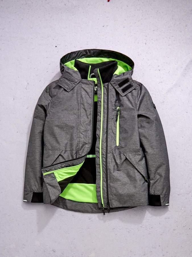 Double Tech Zip Jacket with Fleece Lining - Grey