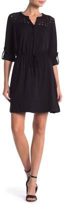 Daniel Rainn DR2 by Lace Yoke Long Sleeve Dress