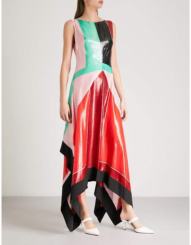 Patent-effect panelled silk-blend dress