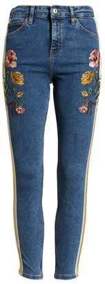 Topshop MOTO Side Stripe Embroidered Crop Skinny Jeans