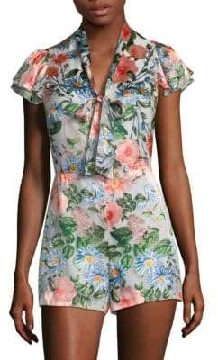 Alice + Olivia Ruffled Floral Romper