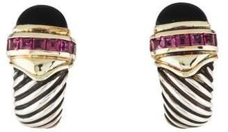 David Yurman Onyx & Garnet Cable Earrings