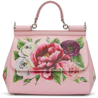 Dolce & Gabbana Pink Medium Peonies Miss Sicily Bag
