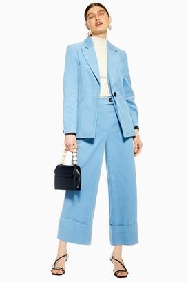 Topshop Blue Corduroy Crop Wide Leg Trousers