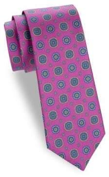 Saks Fifth Avenue Circle Floral Silk Tie