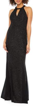 R & M Richards Sleeveless Halter Glitter Knit Evening Gown