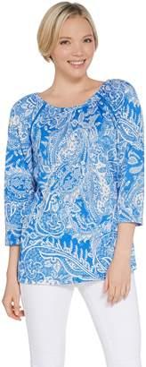 Susan Graver Printed Knit Gauze Raglan Sleeve Peasant Top