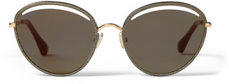 Jimmy Choo MALYA Rose Gold Oval Sunglasses with Gold Lame Glitter
