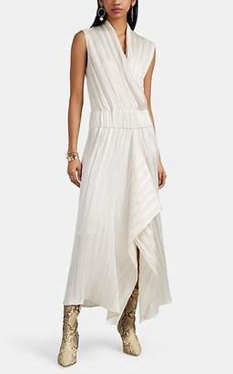 Zero Maria Cornejo Women's Jazmin Ero Linen-Silk Plissé Asymmetric Draped Dress - Greige