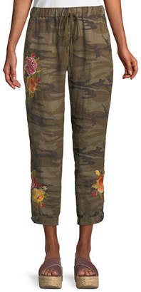 Johnny Was Vella Embroidered Linen Jogger Pants, Petite