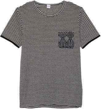 7f568a1b1a eidos Graphic print chest pocket stripe linen T-shirt