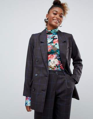 Monki two-piece check double breasted blazer in gray