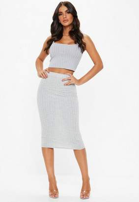 Missguided Tall Grey Ribbed Midi Skirt