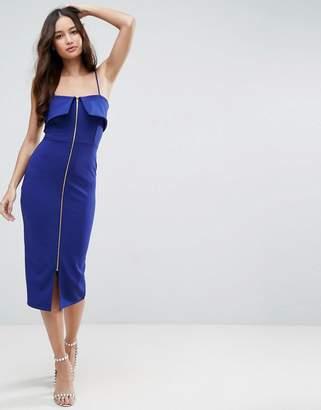 Asos Zip Front Midi Bodycon Dress