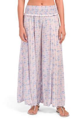 Print Smock Waist Wide Leg Cover-up Pants